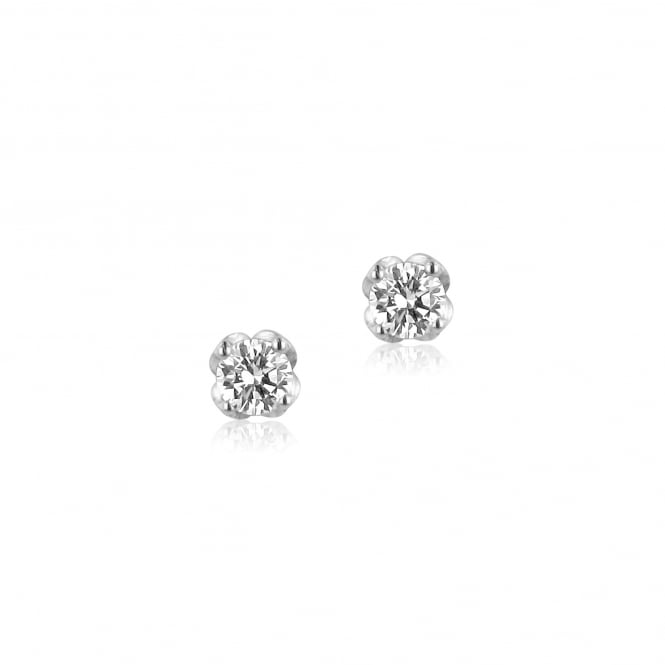 18ct White Gold 0.39ct Single Diamond Stud Earrings