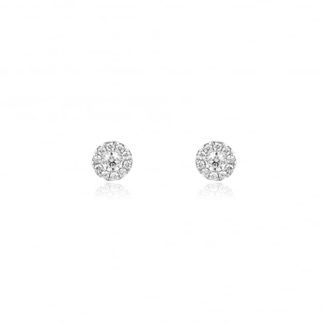 18ct White Gold 0.42ct Round Diamond Halo Stud Earrings