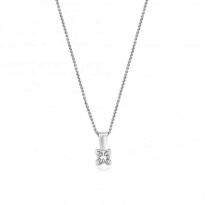 18ct White Gold 0.45ct Princess Cut Diamond Pendant and Chain