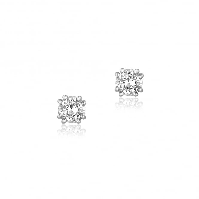 18ct White Gold 0.58ct Double Claw Diamond Earrings