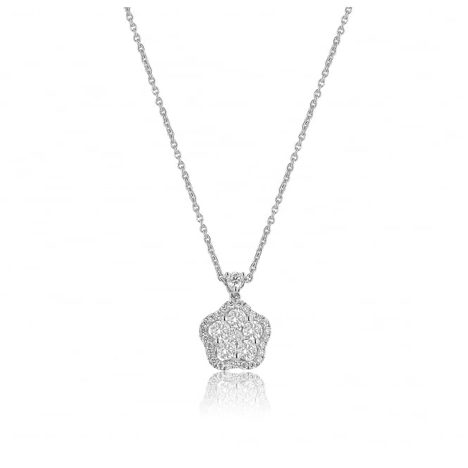 18ct White Gold 0.59ct Diamond Halo Flower Necklace