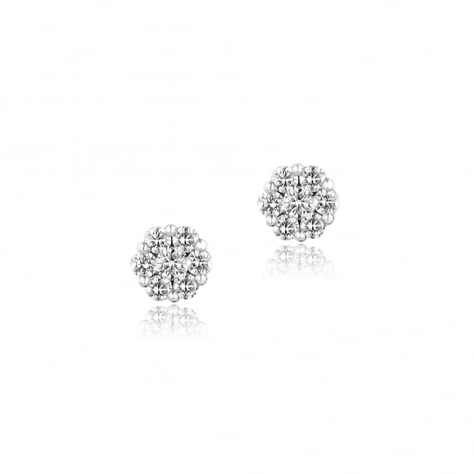 18ct White Gold 0.71ct Flower Cluster Earrings
