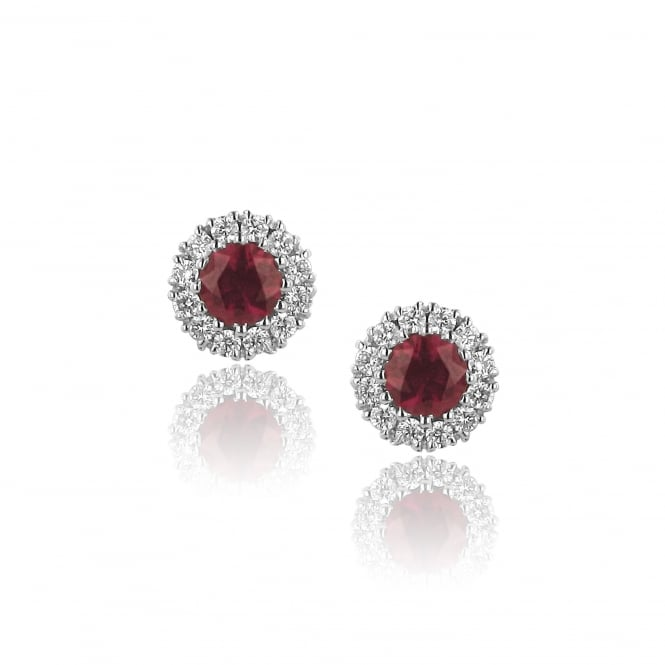 18ct White Gold 0.86ct Ruby and 0.33ct Diamond Cluster Earrings