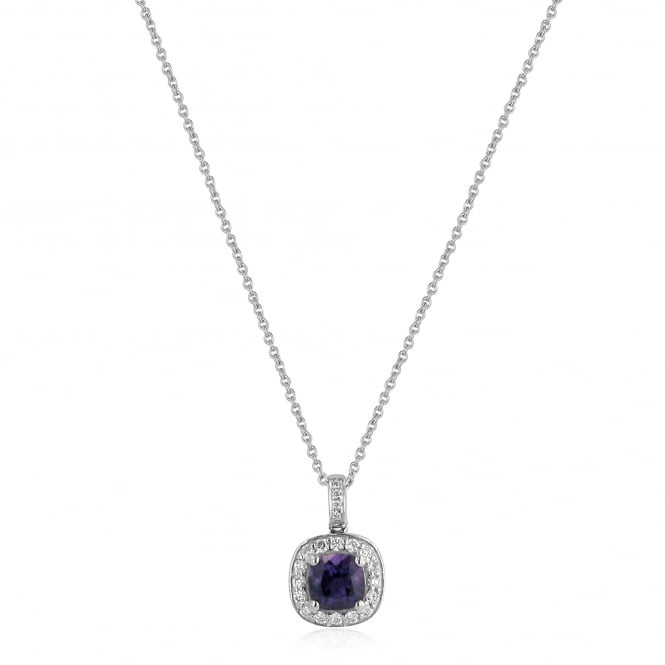 "18ct White Gold 18"" Amethyst and Diamond Necklace"