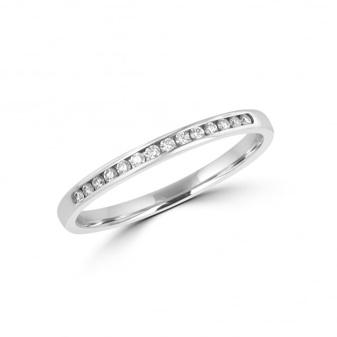 18ct White Gold 2.2mm Wide Diamond Wedding Ring