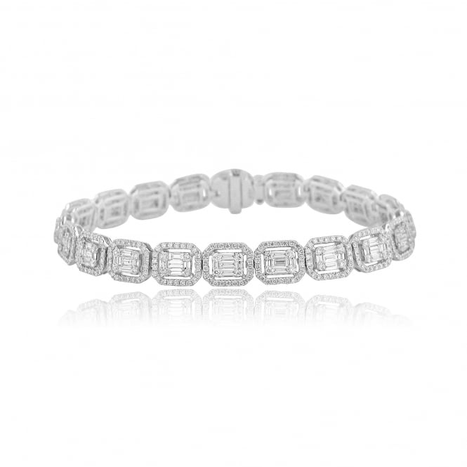 18ct White Gold 5.77ct Deco Inspired Diamond Bracelet BW3647