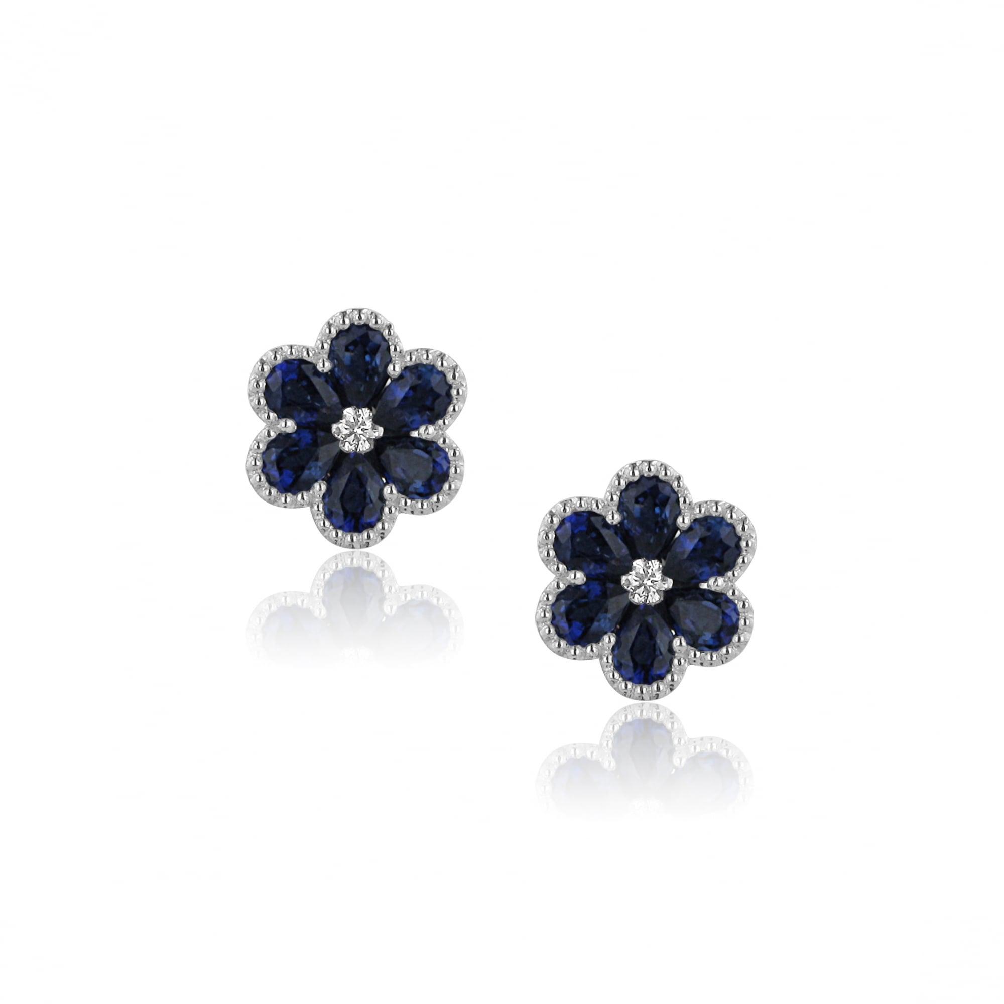 18ct White Gold Blue Sapphire Flower Earrings Womens From Avanti