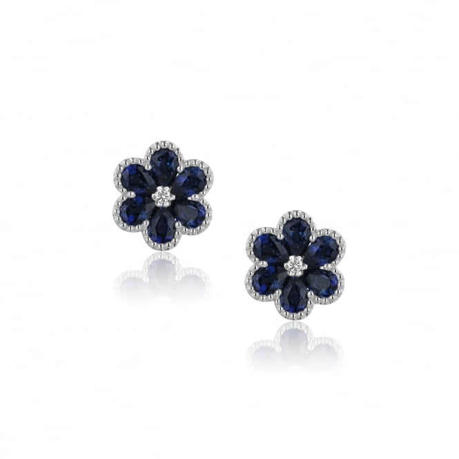 18ct White Gold Blue Sapphire Flower Earrings