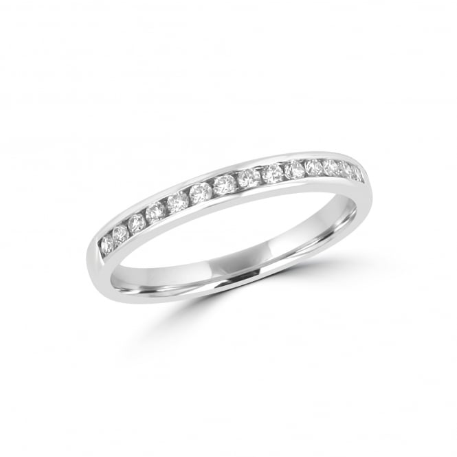 18ct White Gold Channel Set Eternity Ring With Fourteen Round Diamonds