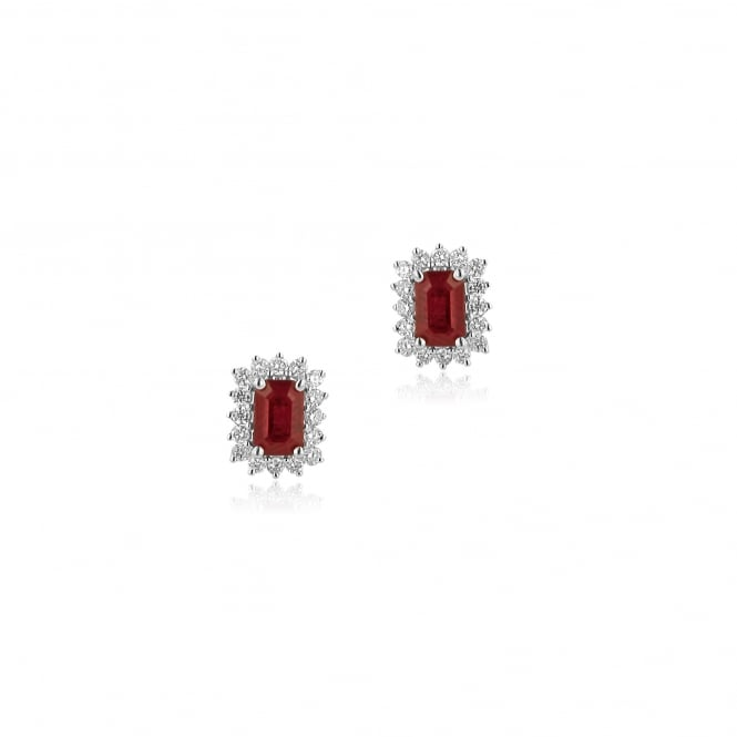 18ct White Gold Diamond And Ruby Cluster Stud Earrings