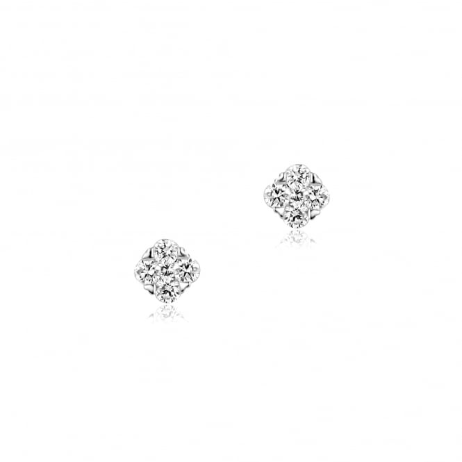 18ct White Gold Diamond Cluster Stud Earrings With Heart Claws EWT35182