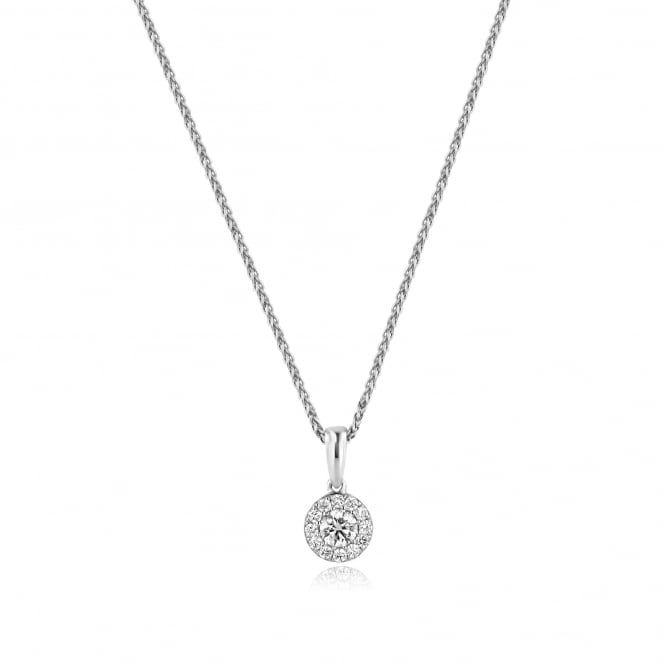 18ct White Gold Diamond Halo Necklace 0.38ct