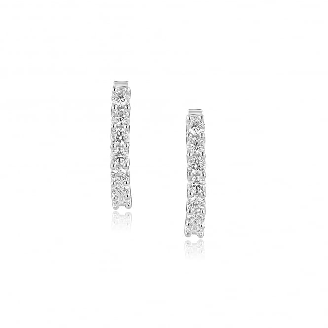 18ct White Gold Diamond Hinged Hoop Earrings EWR36231