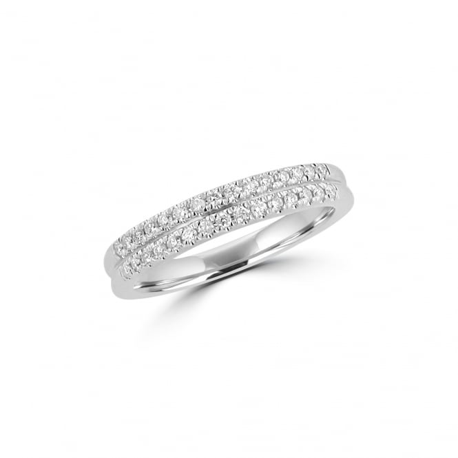 18ct White Gold Double Row Diamond Band Ring