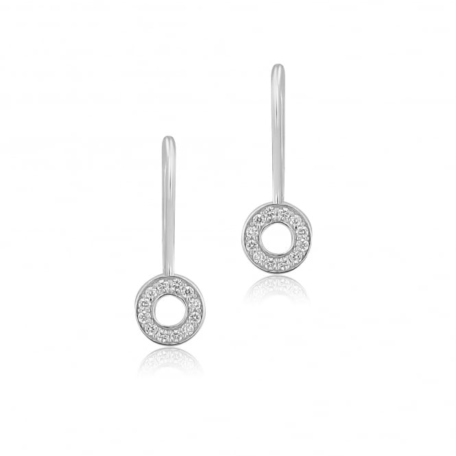 18ct White Gold Grain Set Diamond Drop Earrings