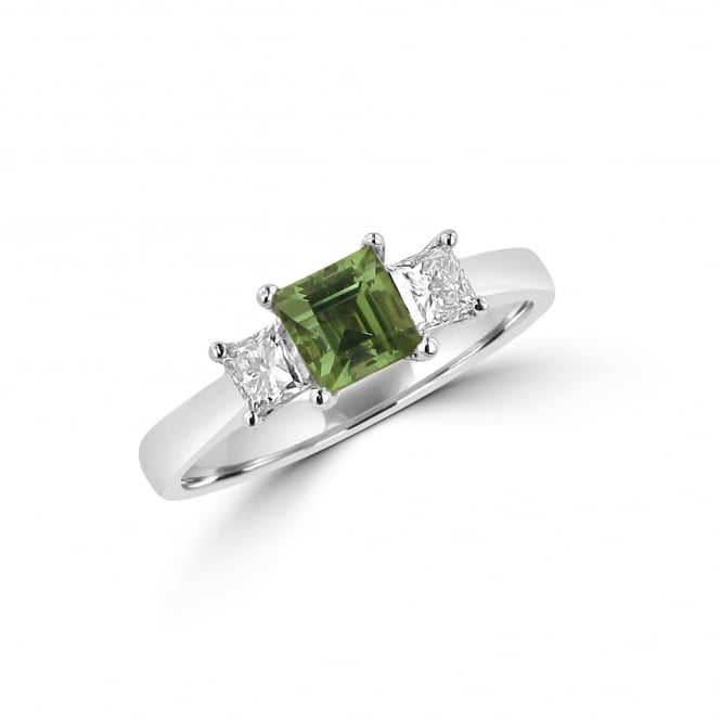 18ct White Gold Green Tourmaline and Diamond Three Stone Ring RWD36432
