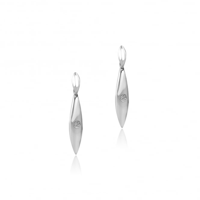 18ct White Gold Marquise Shape Diamond Drop Earrings