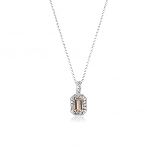 "18ct White Gold Morganite and Diamond Pendant With 18"" Chain"