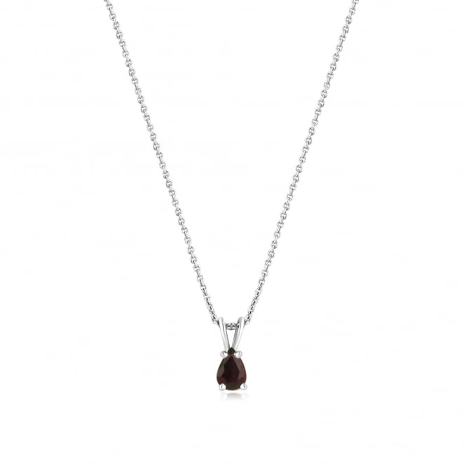 18ct White Gold Pear Ruby Pendant and Chain