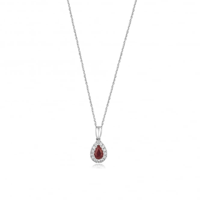 18ct White Gold Pear Shape Ruby and Diamond Pendant and Chain DW3635