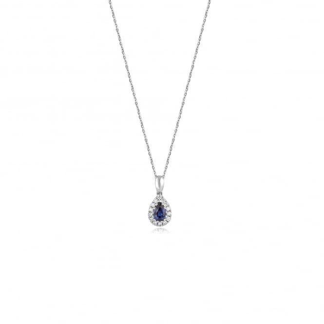 18ct White Gold Pear Shape Sapphire and Diamond Pendant and Chain DW3634