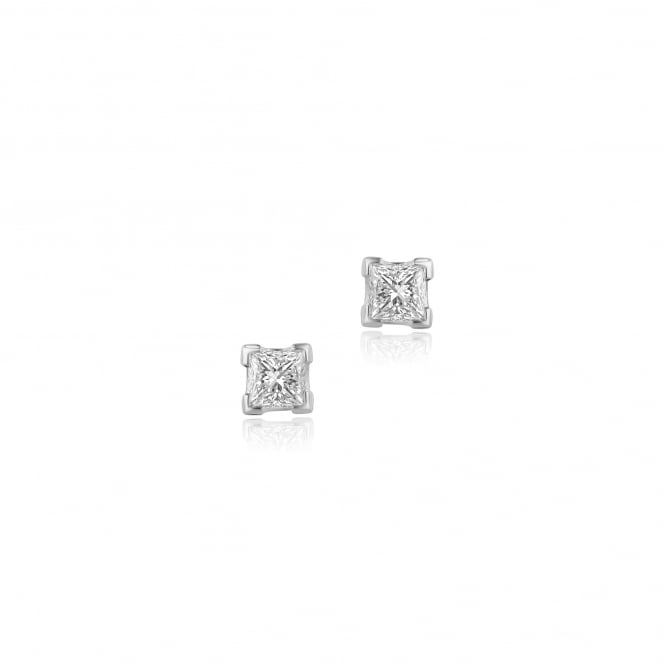 18ct White Gold Princess Cut Diamond Stud Earrings 0.83ct Total EWT3646
