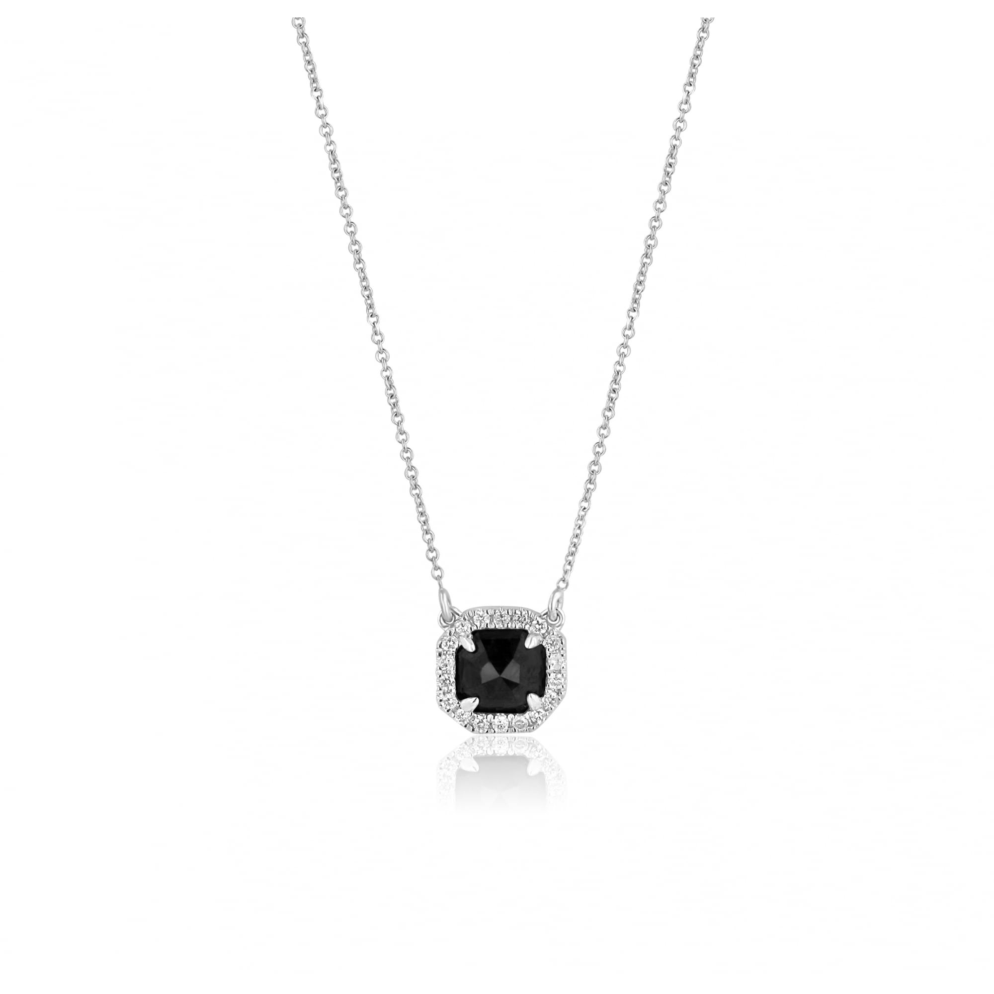 White and Black Diamond Pendant on White Gold Chain