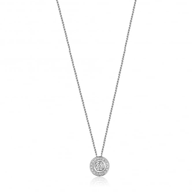 "18ct White Gold Round 18"" Diamond Deco Inspired Cluster Slider Necklace"