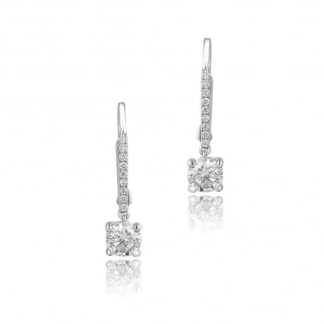 18ct White Gold Round Diamond Drop Earrings 1.13ct Total