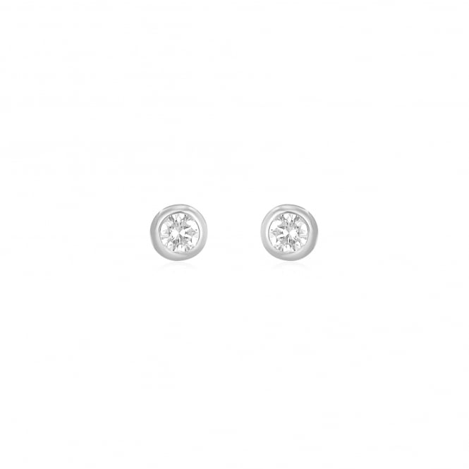 18ct White Gold Round Diamond Stud Earrings 4mm 0.26ct Total