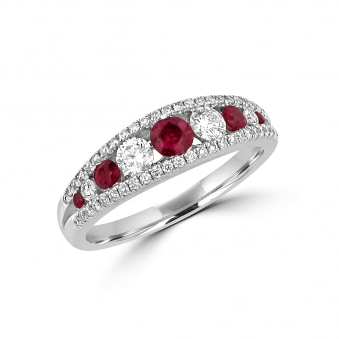 18ct White Gold Round Ruby and Diamond Dress Ring