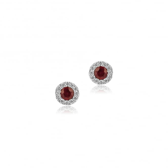 18ct White Gold Round Ruby and Diamond Stud Earrings