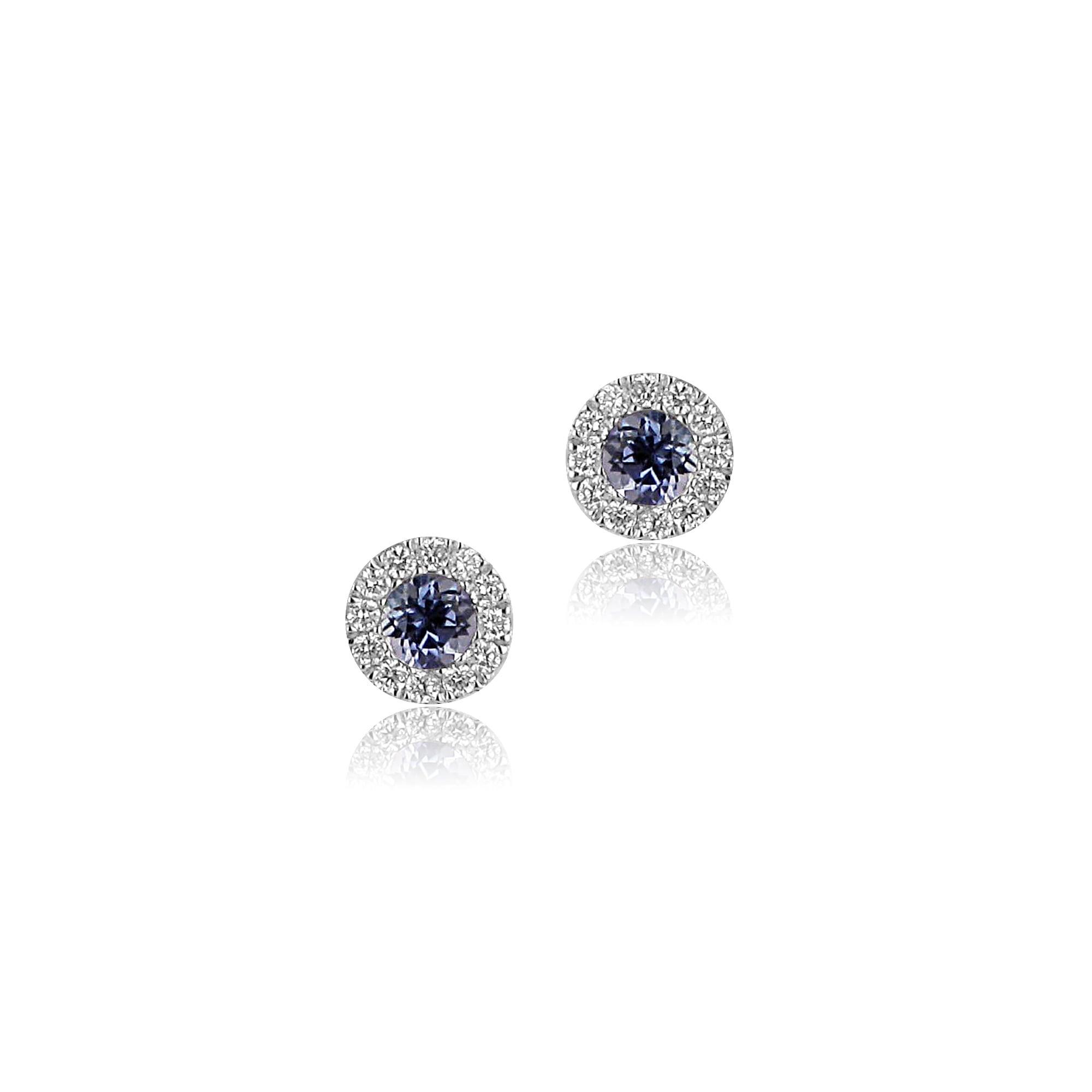 18ct White Gold Round Tanzanite and Diamond Stud Earrings Womens