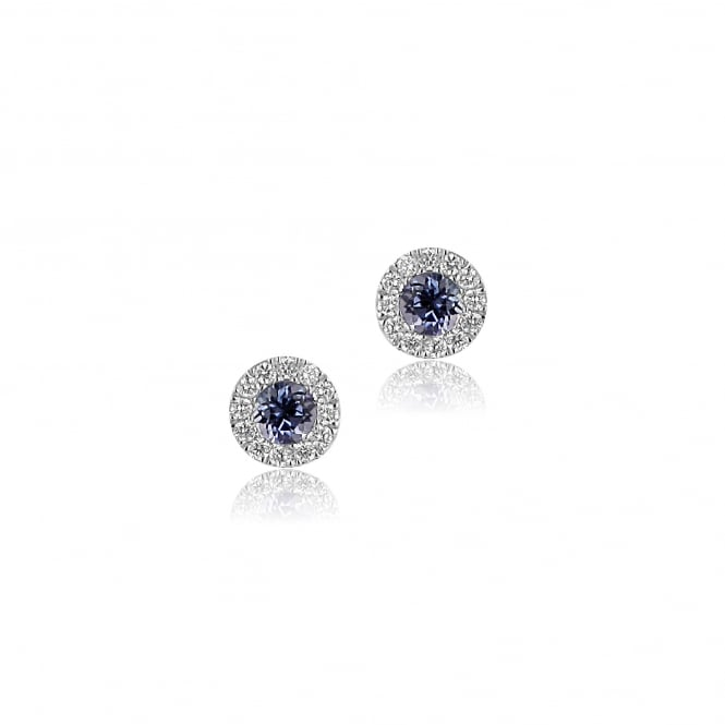18ct White Gold Round Tanzanite and Diamond Stud Earrings