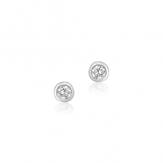 18ct White Gold Rubover Round Diamond Stud Earrings 0.15ct Total