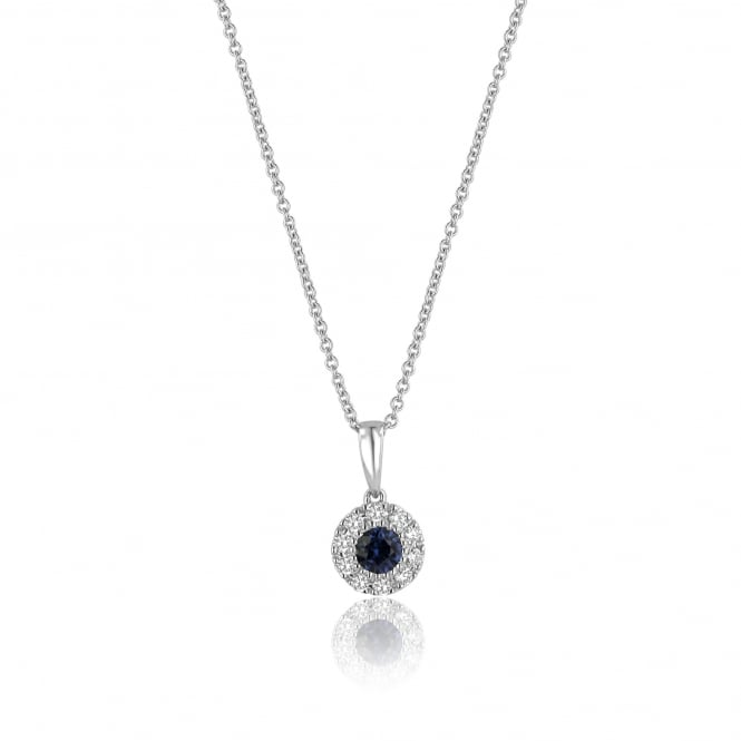 18ct White Gold Sapphire and Diamond ClusterNecklace