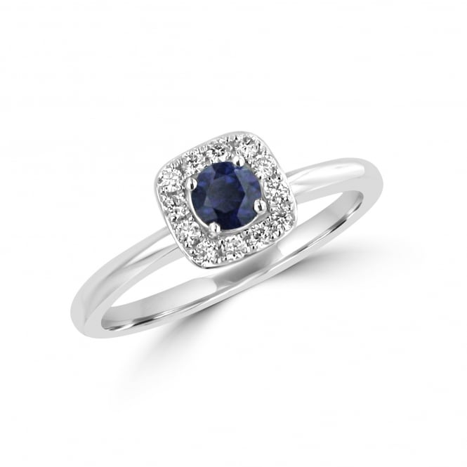 18ct White Gold Sapphire and Diamond Cushion Cluster Ring