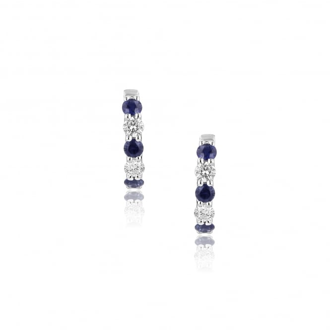 18ct White Gold Sapphire and Diamond Hinged Hoop Earrings EWR36234