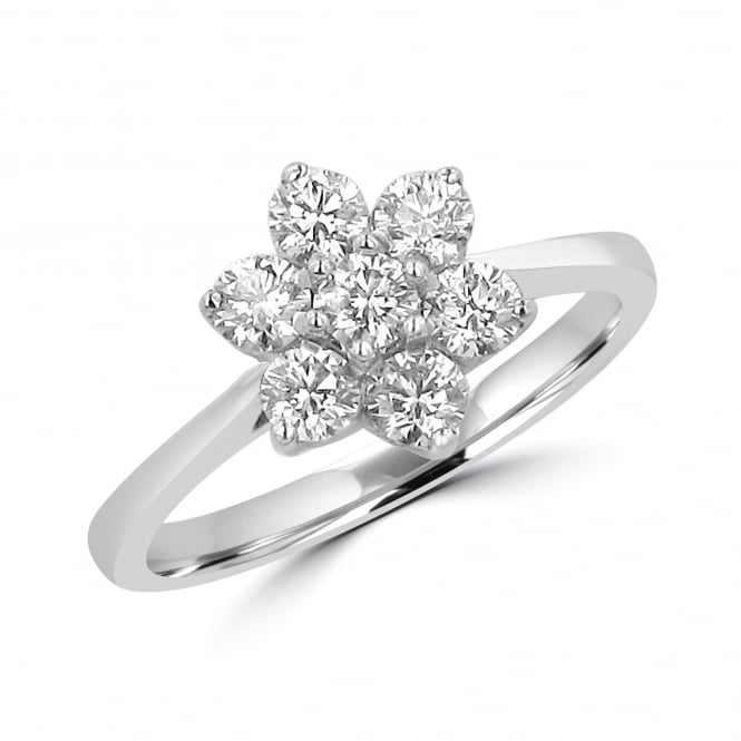 18ct White Gold Seven Stone Diamond Cluster Ring