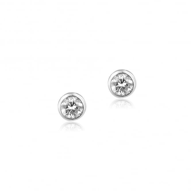 18ct White Gold Small Round Diamond Stud Earrings
