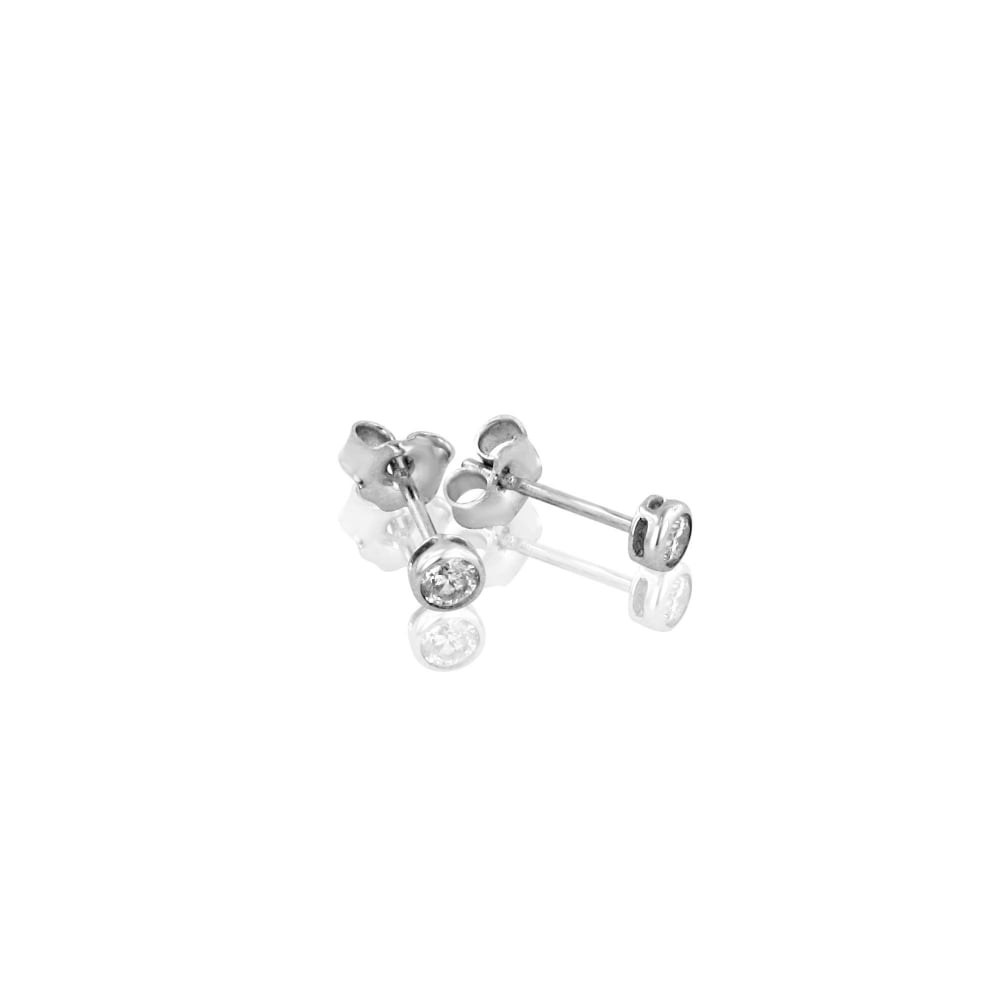 1a5bd7a64 18ct White Gold Small Round Diamond Stud Earrings - Womens from ...