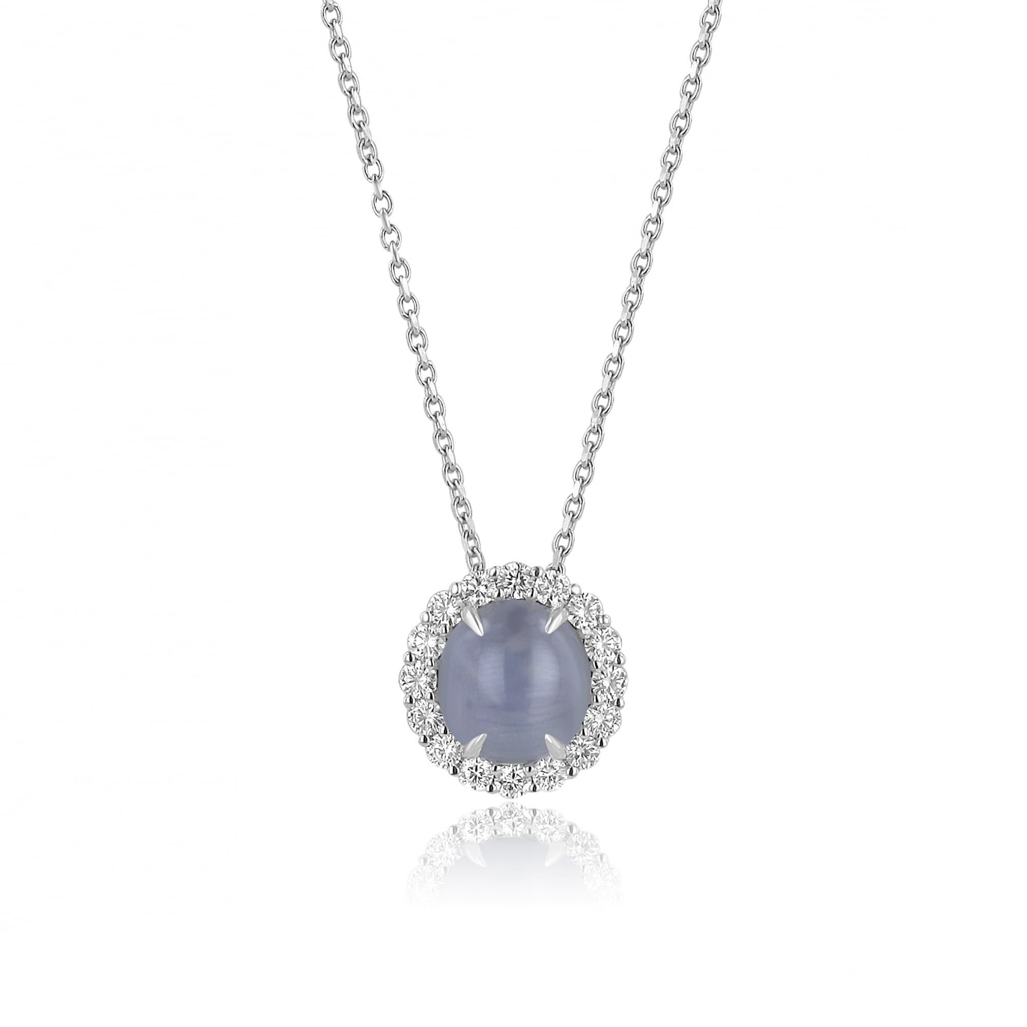 18ct white gold star sapphire and diamond necklace womens from 18ct white gold star sapphire and diamond necklace mozeypictures Choice Image
