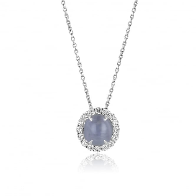 18ct White Gold Star Sapphire and Diamond Necklace