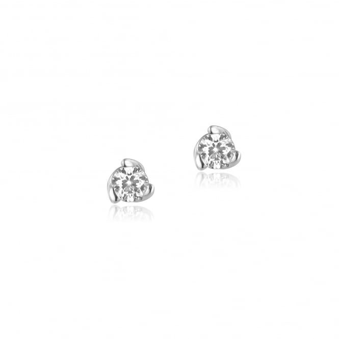 18ct White Gold Three Claw Twist Diamond Earrings