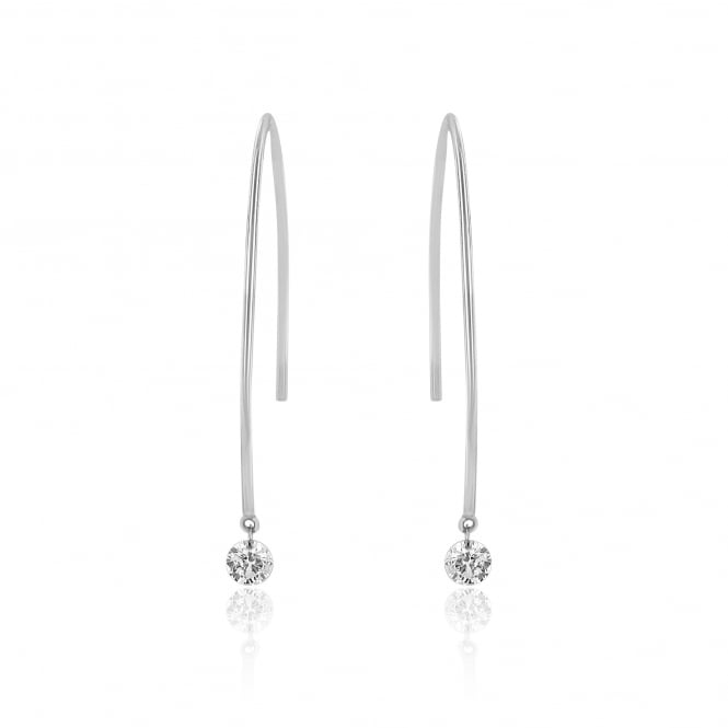 18ct White Gold Wire earrings With Diamonds 0.36ct