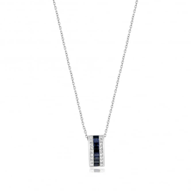 18ct White Sapphire and Diamond Slider Necklace