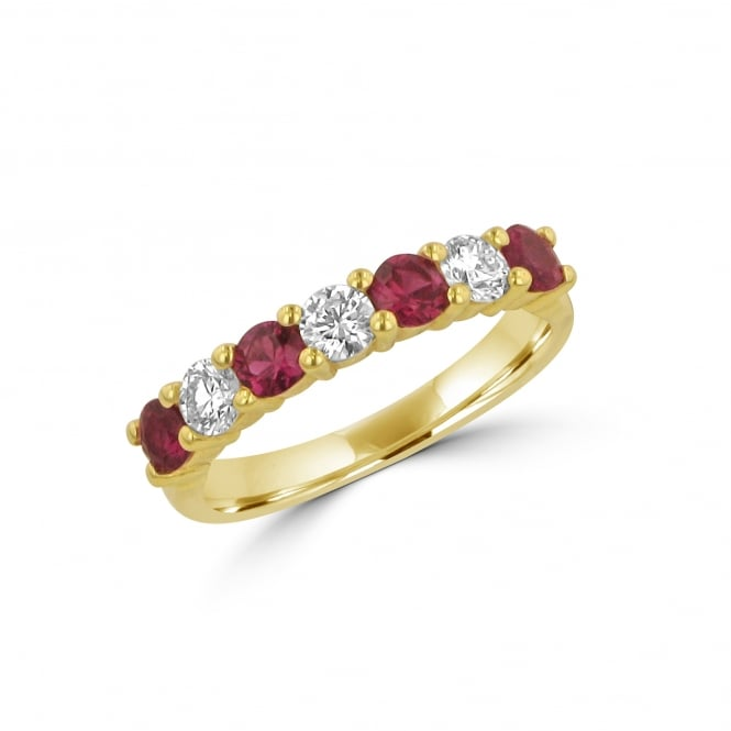18ct Yellow Gold 0.70ct Ruby And Diamond Eternity Ring
