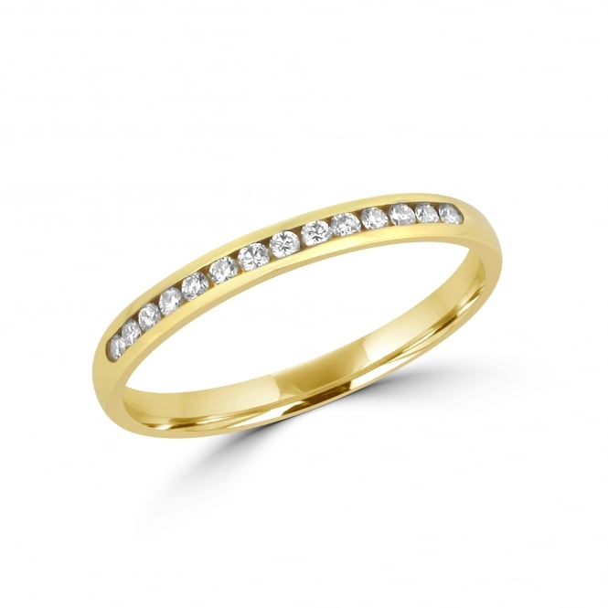 18ct Yellow Gold 2mm Fourteen Stone Diamond Ring