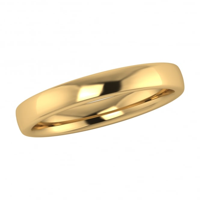 18ct Yellow Gold 3mm Court Wedding Ring (Medium Weight)