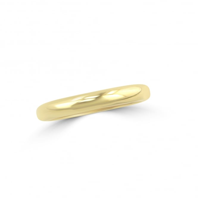 18ct Yellow Gold 3mm D Shape Wedding Ring